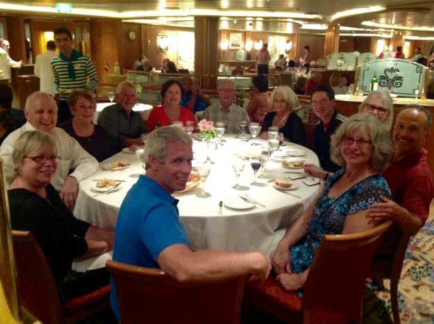 Our group of knitters with our husbands, meeting for dinner.